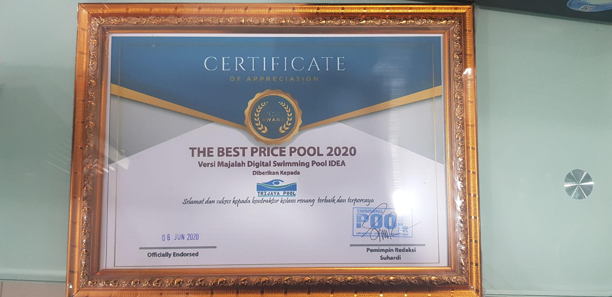 Penghargaan yang diterima Trijaya Pool Sebagai The Best Price Pool